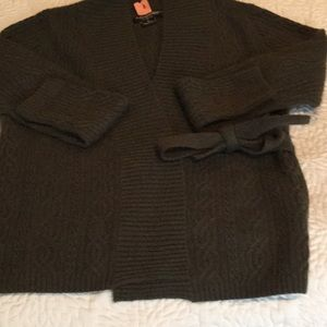 100% Cashmere sweater/jacket, self belted.